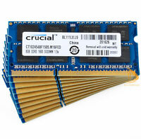 LOT Crucial 10x 8GB 2Rx8 PC3-12800S DDR3 1600Mhz SODIMM RAM Laptop Memory $GS$