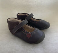 Girls Clarks Pre Walkers Little Zoe Anthracite Leather Size 4.5G