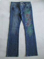 REFUGE DENIM BLUE FLORAL EMBELLISHED JEANS SIZE 7 - NWT
