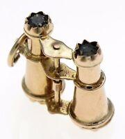Vintage 1960's 9ct Gold Hallmarked Binoculars Charm Glass Gem Lenses