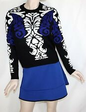 Women Ladies Black Printed Sweater with Flared Blue Mini Skirt Size L