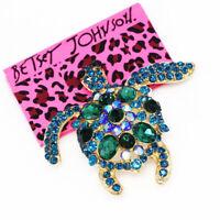 Betsey Johnson Jewelry Blue Crystal Cute Turtle Tortoise Animal Brooch Pin Gift