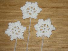 3 x HANDMADE CROCHET WHITE SMALL SNOWFLAKE APPLIQUE