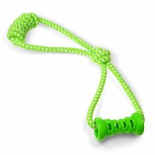 Fluffy Paws Non-Toxic Rubber Pet Dog Dental Chew Toy With Tug Rope Green