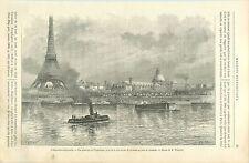 Exposition Universelle de Paris Pont de Grenelle  GRAVURE ANTIQUE OLD PRINT 1889
