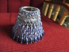 "Vintage purple Beaded Tea Light Lamp Shade 4"" tall no stand"