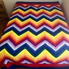 11 Color Hand Stitched Rainbow Chevron Quilt King Size 105x82 Gay Pride Mormon