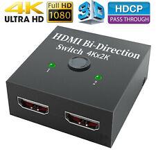 2x1 1x2 In Out UHD 4K Bi Direction HDMI 2.0 Switcher Splitter Hub HDCP 3D NEW RF