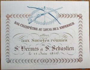 Porcelain Trade Card/Ball Invitation 1846: Societes St. Hermes et St. Sebastien