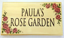 Large Pink Rose Plaque / Sign - Garden Personalised Nanny Border House Name