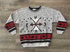 Adele Vintage Womens  Sweater 80s 90s Knitwear Aztec Print Arrows