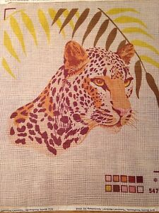 PRINTED NEEDLEPOINT CANVAS BEAUTUFUL BIG CAT