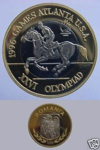 Rare 1996 Romania bi-met 100 Lei pattern Olympic Equestrian