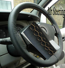FITS HONDA JAZZ  BLACK ITALIAN LEATHER STEERING WHEEL COVER BEIGE STITCHING NEW