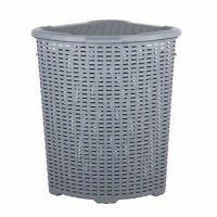 Dunya Grey Plastic Rattan Style Corner Shape Laundry Storage Basket 52L with Lid
