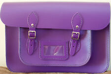 TRADITIONAL LEATHER SCHOOL SATCHEL MID PURPLE MANUFACTURED UK Free Shipping UK