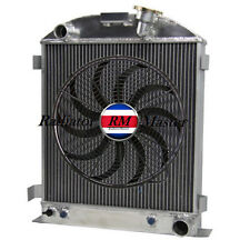 """ALUMINUM RADIATOR FOR 1932 FORD CHOPPED CHEVY ENGINE 3ROW +14""""Fan"""