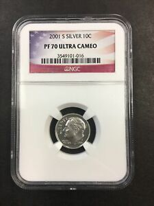 NGC 2001 S PF 70 Silver Ultra Cameo Dime NO RESERVE!! CLEAN!