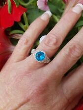 Art Deco Neon Blue Topaz Solitaire Filagree Ring, Sterling Silver, Size 8