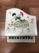 Vtg Wooden Grand Piano Musical Jewelry Box Mele Toyo Japan Kitsch Woman Flowers