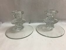 Vintage Pair of Art Deco Glass or Crystal Candlesticks