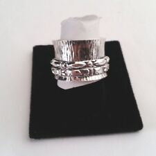 .925 STERLING SILVER  CIGAR BAND TRIBAL SPINNER RING AC1 SIZE 9
