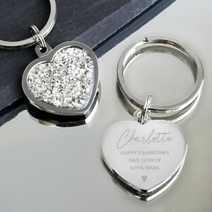 Personalised Name Message Diamante Silver Heart Keyring Keychain Personalised