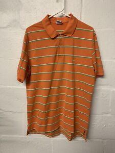 Brooks Brothers 1/4 Button Down Orange W/ Green Stripes Short Sleeve Shirt Sz. L