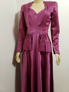 Ben J Gam VTG 1930's pink shades of purple peplum Women's  Dress Sz S? CHARITY