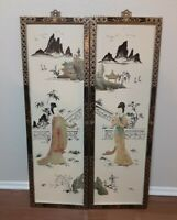 RARE Vintage Asian Lacquer Wall Panels Art 2 Geisha Japanese Mother of Pearl HTF