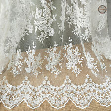 "49"" Embroidery Floral Eyelash Lace Trim Retro Wedding Bridal Veil Dress Fabric"