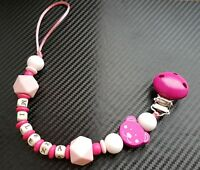 Personalized BPA FREE Silicone and Wood Dummy Clip Teether for boys and girls