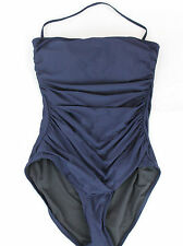J.Crew $100 D-Cup Ruched Bandeau One-Piece Swimsuit 10 Navy Blue NWT B6842