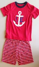 Toddler Boys LANDS END Pajama Set Anchor & Stripes Red 3T Shorts Sleepwear