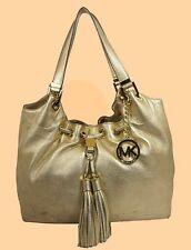MICHAEL KORS CAMDEN Gold Leather LG Drawstring Tote Shoulder Bag Msrp $398.00