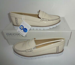 GEOX Ladies Cream Leather Womens Casual Trainers Shoes RRP ££90 New Size 2.5