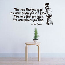 DR SEUSS THE MORE THAT YOU READ YOU KNOW Saying Quote Wall Sticker #AU