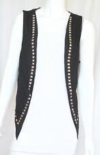 Cyber Gothic Punk Black Studded Open Front Vest Top Shirt Small Medium