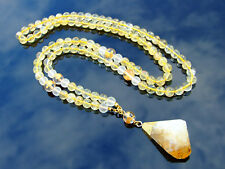 Citrine Natural Gemstone Mala Necklace Prayer Healing Stone Chakra 108 Beads