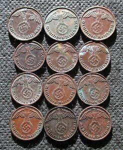 AUTHENTIC OLD COINS THIRD REICH GERMANY 1&2 REICHSPFENNG WORLD WAR II - MIX 798