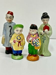 Oriental Asian Man, Woman, Children Family Figurines Marked Made in Japan