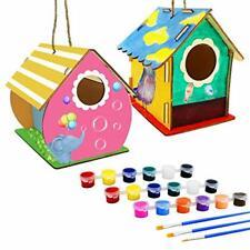 Brainwave 2 Pack Diy Bird House Kit, Wooden Birdhouse Arts Build and Paint(Inclu