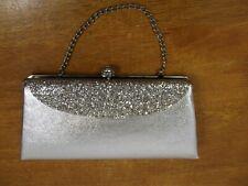 Silver Bling Evening Chain Clutch Handbag Formal Wear Purse Wedding Anniversary
