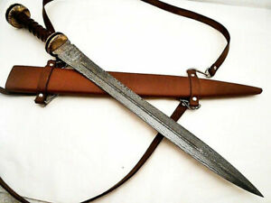 NEW CUSTOM Handmade ROMAN GLADIUS Damascus Steel Double Edge Sword