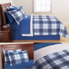 Twin Bedding Sets For Boys Men Teens Blue Plaid Reversible Comforter 7 Pieces