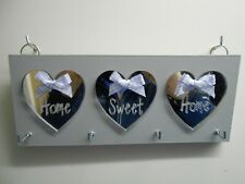 Key Holder Home Sweet Home, Grey, with Silver mirror hearts