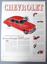 Original 1949 Chevrolet Red Fleetline De Luxe 4 door Ad THE MOST BEAUTIFUL BUY