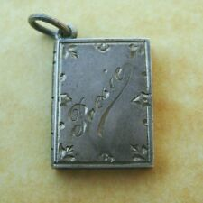 Antique German Silver Engraved Book of Poems Poetry Charm Initial S