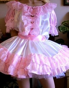 CD ADULT BABY SISSY WHITE AND PINK  DRESS