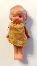 "Vintage Bisque 3"" Frozen Charlotte Pink Doll w/ Fabric Dress"
